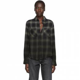 Amiri Green and Black Plaid Ombre Shirt 192886F10900302GB