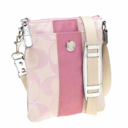 Coach Pink Signature Canvas Swingpack Crossbody Bag 215198