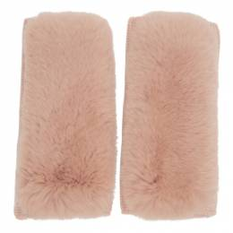 Yves Salomon Pink Rex Rabbit Fur and Cashmere Gloves 192594F01200901GB
