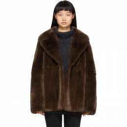 Yves Salomon Brown Rex Rabbit Fur Jacket 20W20WYM31270REUN
