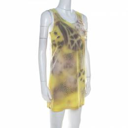 Blumarine Yellow Printed Applique Detail Short Dress S 218163