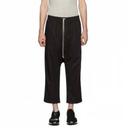 Rick Owens DRKSHDW Black Drawstring Cropped Trousers 192126M19100604GB