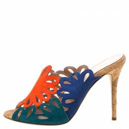Oscar de la Renta Tricolor Suede Floral Cut Out Sandals Size 37.5 217891