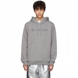 Helmut Lang Grey Raised Embroidery Standard Hoodie 192154M20201806GB