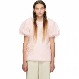 Simone Rocha Pink Ruched Flowers Puff Sleeves T-Shirt 192405F11000502GB