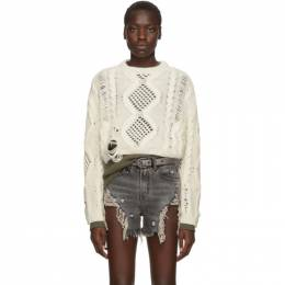 Amiri Off-White Cropped Multipoint Crew Sweater 192886F09600503GB