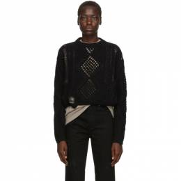 Amiri Black Cropped Multipoint Crew Sweater 192886F09600603GB