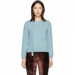 Marc Jacobs Blue The Worn And Torn Crewneck Sweater M4008041