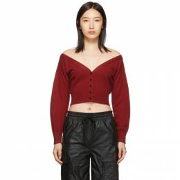 Alexander Wang Red Fitted Cropped Cardigan 192187F09500404GB