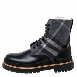 Burberry Black Leather And Wool Blend William Check Fur Lined Ankle Boots Size 41 219634