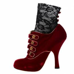 Dolce & Gabanna Red/Black Velvet and Lace Socks Platform Ankle Boots Size 40 Dolce and Gabbana 251605