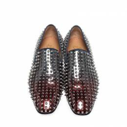 Christian Louboutin Red/Blue Patent Leather Dandelion Spikes Loafers Size 43 220881