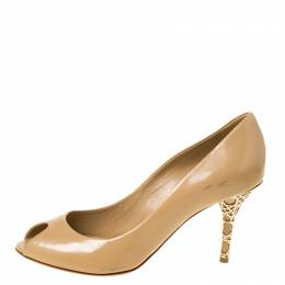Dior Beige Leather Cannage Heel Peep Toe Pumps Size 38 222118