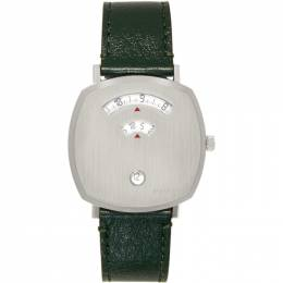 Gucci Silver and Green Grip Watch YA157412
