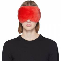 Yves Salomon Red Rex Rabbit Fur Eye Mask 192594F01801801GB