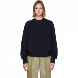 Alexander Wang Navy Crystal Cuff Sweater 1KC2191134