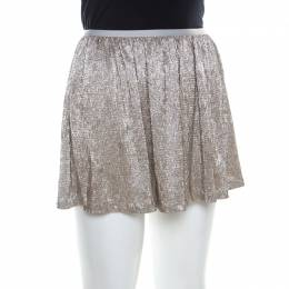 Ralph Lauren Gold Crinkled Crepe Elasticized Waist Mini Skirt M 220761