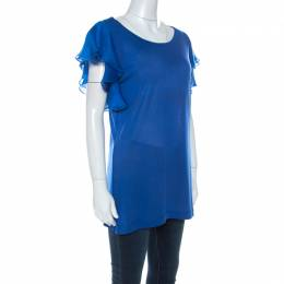 Gucci Blue Jersey and Silk Ruffled Sleeve Top S 270764