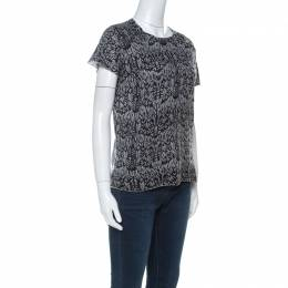 Zadig & Voltaire Grey & Black Printed Half Sleeve Silk-Cashmere Blend Top M 222180