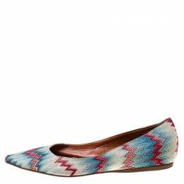Missoni Multicolor ZIgZag Fabric Pointed Toe Ballet Flats Size 36 220770