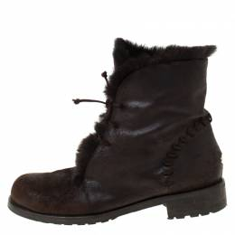 Jimmy Choo Dark Brown Leather and Fur Lace Ankle Boots Size 38.5 216166