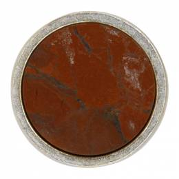 Jil Sander Red and Silver Round Stone Pin 192249M14600401GB
