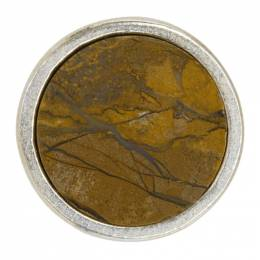 Jil Sander Yellow and Silver Round Stone Pin 192249M14600501GB