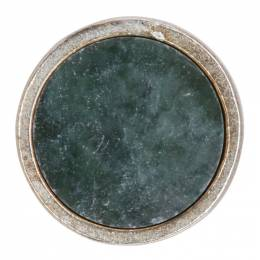 Jil Sander Green and Silver Round Stone Pin 192249M14600301GB