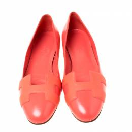 Hermes Coral Orange Leather Nice Ballerina Flats Size 38 221204