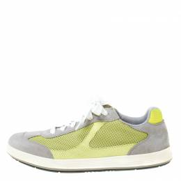 Prada Grey/Neon Green Suede and Mesh Lace Up Low Top Sneakers Size 43 220849