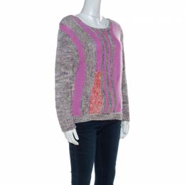 Marc by Marc Jacobs Grey & Purple Cotton Blend Hand Knit Sweater M 221452