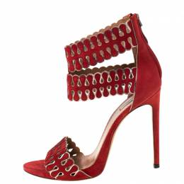 Alaia Red/Silver Laser Cut Suede Open Toe Double Strap Sandals Size 41 220810