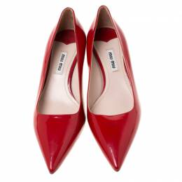 Miu Miu Red Patent Leather Glitter Sole Kitten Heel Pumps Size 37.5 221113