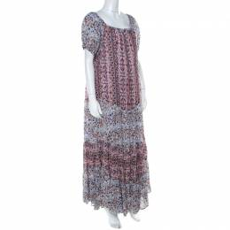 See by Chloe Multicolor Floral Printed Cotton Off Shoulder Maxi Dress M 222385