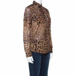 Dolce and Gabbana Brown Leopard Print Cotton and Silk Button Front Shirt S 221646