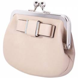 Coach Beige Leather Coin Pouch Bag 188703