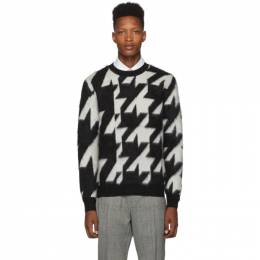 Alexander McQueen	 Black and Off-White Dogtooth Jacquard Sweater 587012Q1WXQ