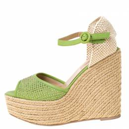 Valentino Green Studded Leather Espadrille Wedge Ankle Strap Sandals Size 39 224115