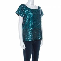 Alice+Olivia Teal Blue & Black Sequinned Cap Sleeves Top L 223635