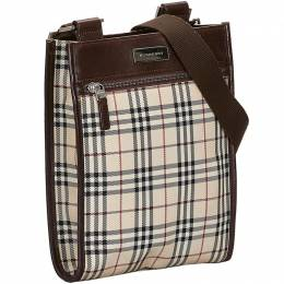 Burberry Brown/Beige Canvas House Check Crossbody Bag 222815