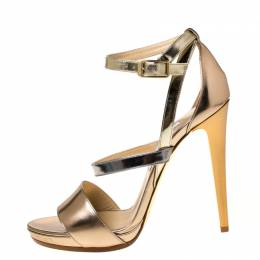 Jimmy Choo Gold/Silver Patent Leather Open Toe Ankle Strap Sandals Size 41 224684
