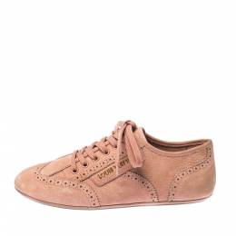 Louis Vuitton Light Peach Nubuck Leather Lace Up Brogue Sneakers Size 37