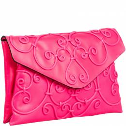 Valentino Neon Pink Leather Intricate Clutch 221460