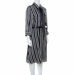 Alice+Olivia Employed Monochrome Striped Silk Necktie Detail Belted Dress L 223920