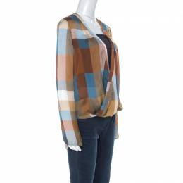 Derek Lam Brown & Blue Silk Check Draped Cross Over Front Blouse L 223808