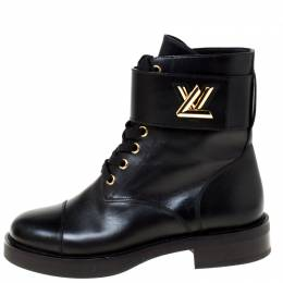 Louis Vuitton	 Black Leather Lace Up Ankle Boots Size 35 250681