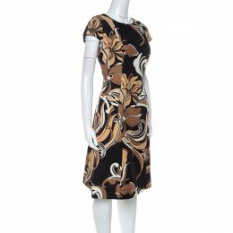 Escada Black and Brown Floral Printed Silk and Wool Blend A Line Dress M 224071