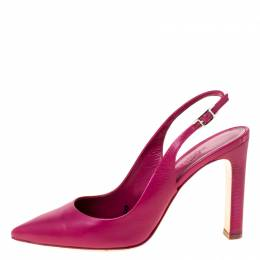 Hermes Pink Leather Slingback Pointed Toe Sandals Size 37