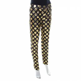 Boutique Moschino Black and Gold Foil Polka Dot Pants S