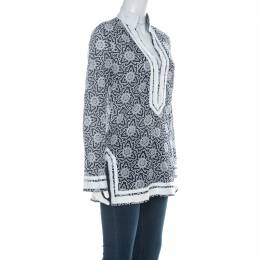 Tory Burch Indigo Blue & White Cotton Printed Grosgrain Trimmed Tunic S 225593